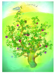 Lark and Pomegranate tree_higher res_